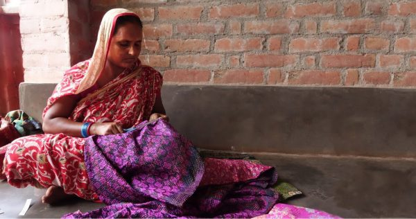 Embroiderer Kantha scarf