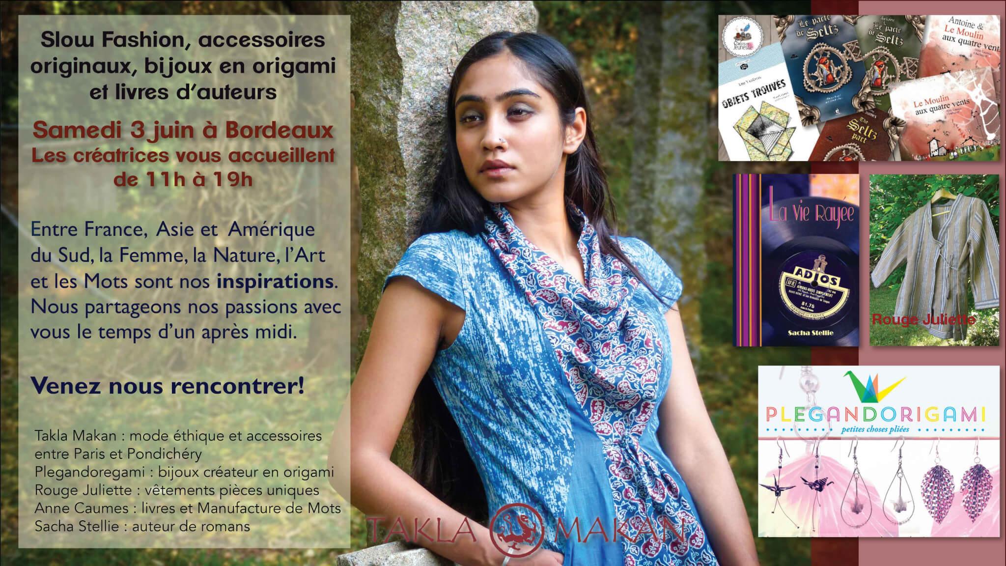 Takla Makan slow fashion en vente éphémère de créatrices à Bordeaux