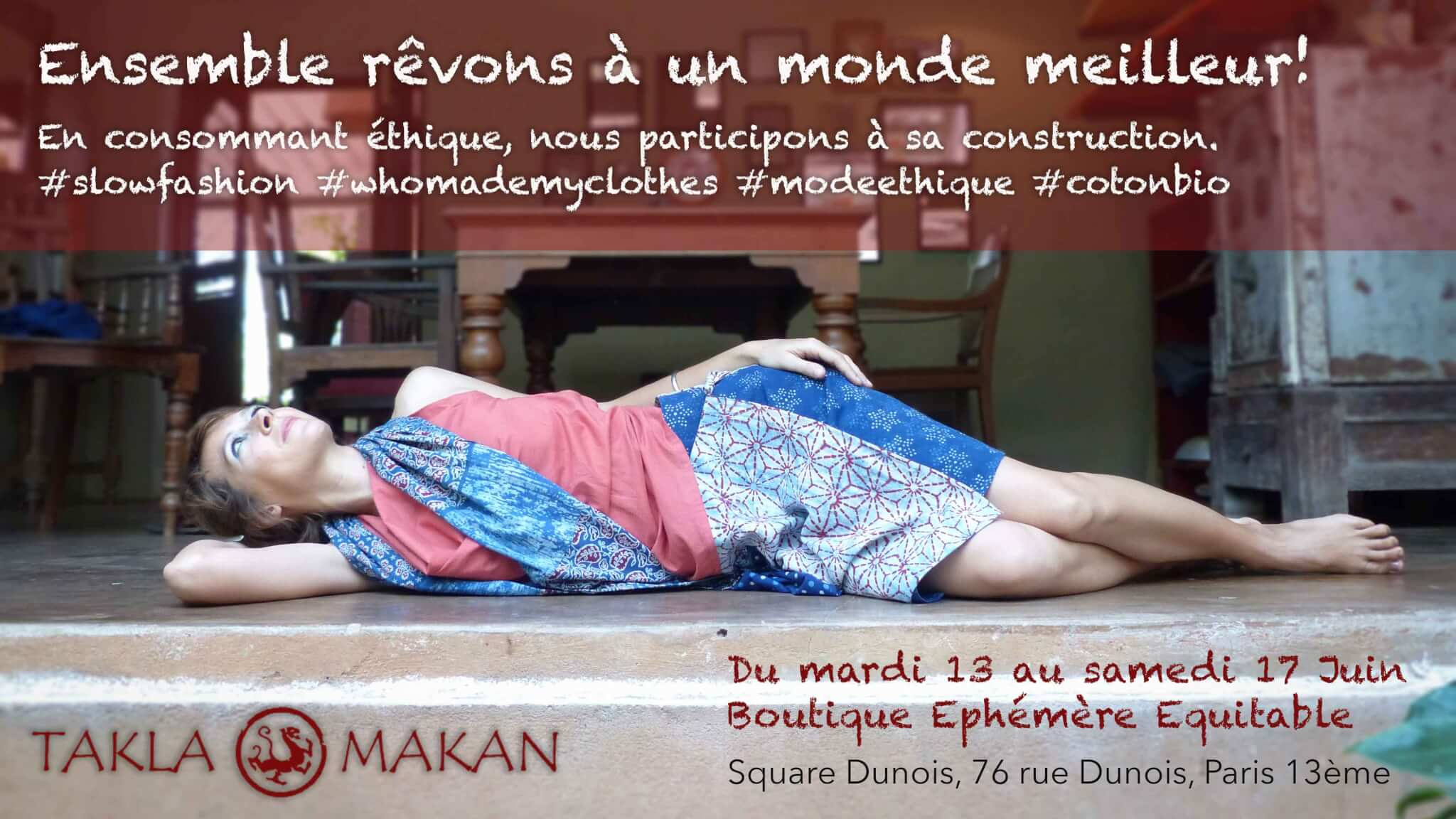 takla makan slow fashion pop up store at Bee in Paris