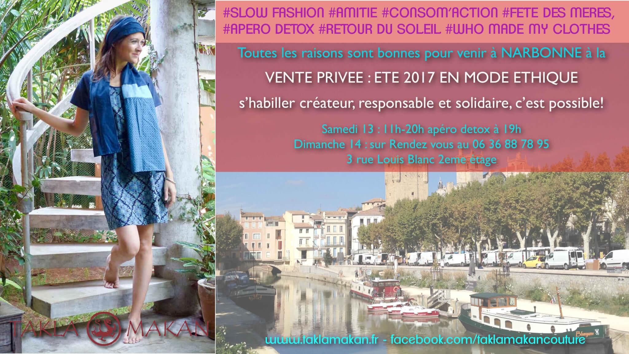 vente Takla Makan slow fashion à Narbonne