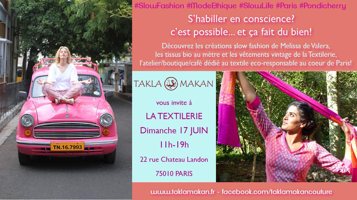 Les créations de la marque de Slow Fashion Takla Makan par Melissa de Valera en vente à la textilerie de Paris