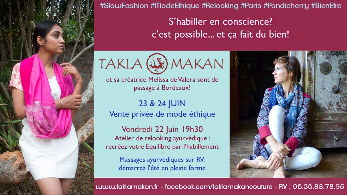 vente mode éthique Takla Makan, relooking et ayurveda par Melissa de Valera à Bordeaux