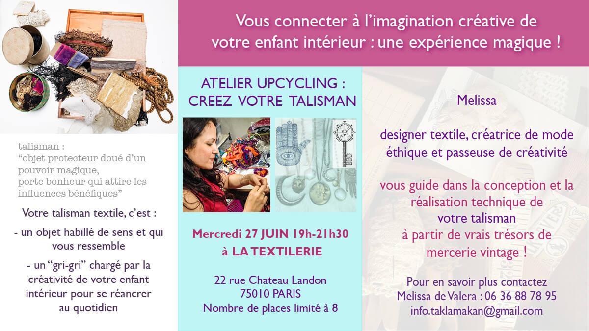atelier talisman: libération créative et upcyling par Melissa de Valera